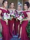 Lace Off-the-shoulder Sweep Train Trumpet/Mermaid Split Front Bridesmaid Dresses #PWD01013715