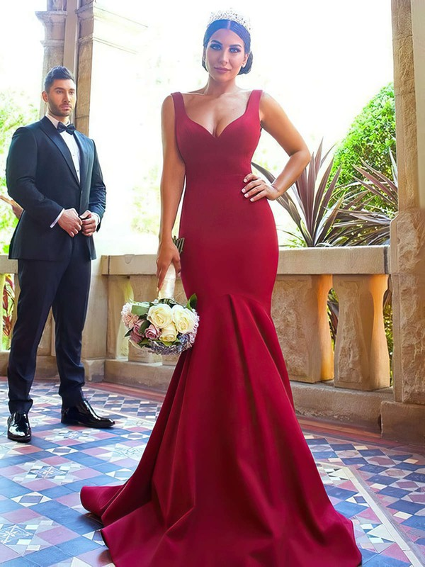 Silk-like Satin V-neck Sweep Train Trumpet/Mermaid Bridesmaid Dresses #PWD01013716