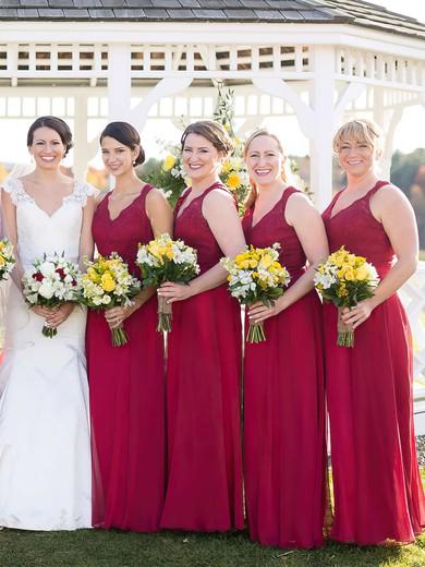 Chiffon V-neck Floor-length A-line Lace Bridesmaid Dresses #PWD01013718