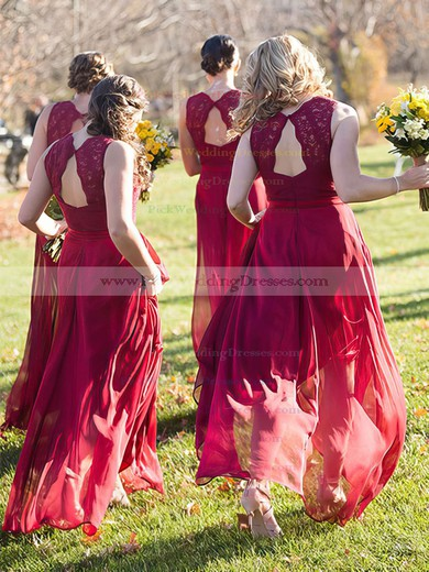 Chiffon V-neck Floor-length A-line Lace Bridesmaid Dresses #PWD01013718
