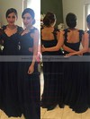 Chiffon V-neck Floor-length A-line Appliques Lace Bridesmaid Dresses #PWD01013719