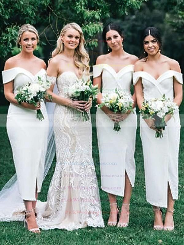 Silk-like Satin Off-the-shoulder Tea-length Sheath/Column Split Front Bridesmaid Dresses #PWD01013720
