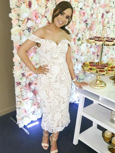 Lace Off-the-shoulder Tea-length Sheath/Column Bridesmaid Dresses #PWD01013721