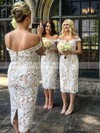 Lace Off-the-shoulder Tea-length Sheath/Column Bridesmaid Dresses #PWD01013721
