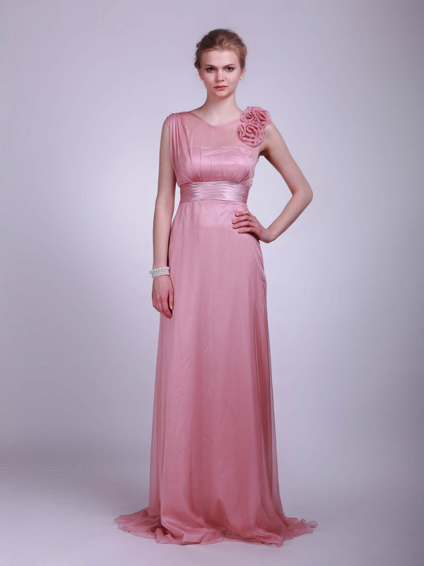 A-line Floor-length Chiffon Flower(s) High Neck Bridesmaid Dresses #PWD02013612