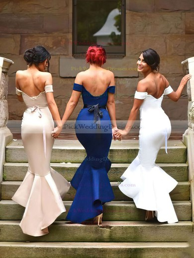 Silk-like Satin Off-the-shoulder Asymmetrical Trumpet/Mermaid Sashes / Ribbons Bridesmaid Dresses #PWD01013727