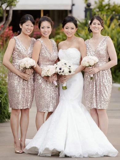Sequined V-neck Knee-length A-line Ruffles Bridesmaid Dresses #PWD01013728
