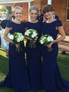 Silk-like Satin Scoop Neck Sweep Train Trumpet/Mermaid Bridesmaid Dresses #PWD01013729