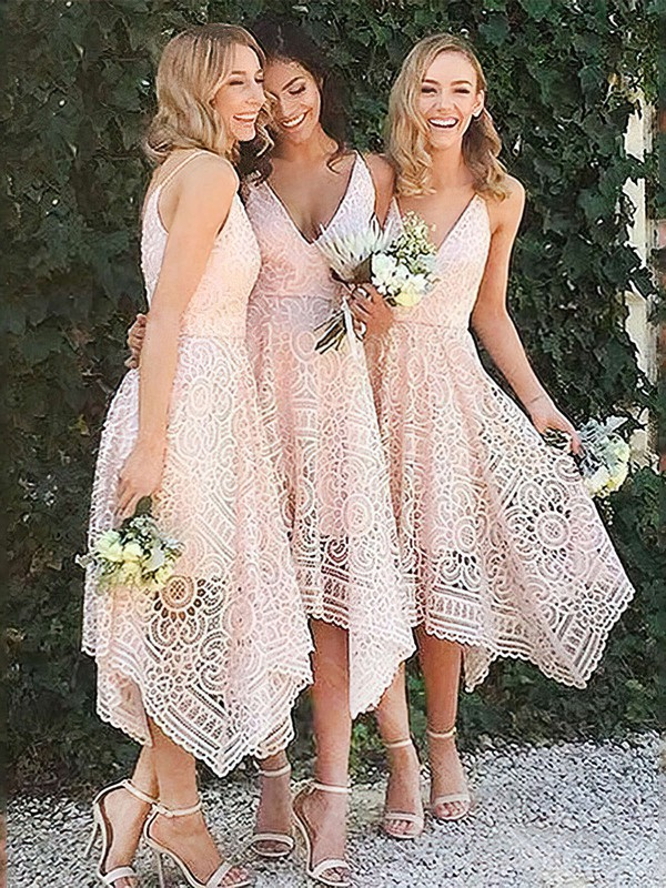 Lace V-neck Tea-length A-line Bridesmaid Dresses #PWD01013596