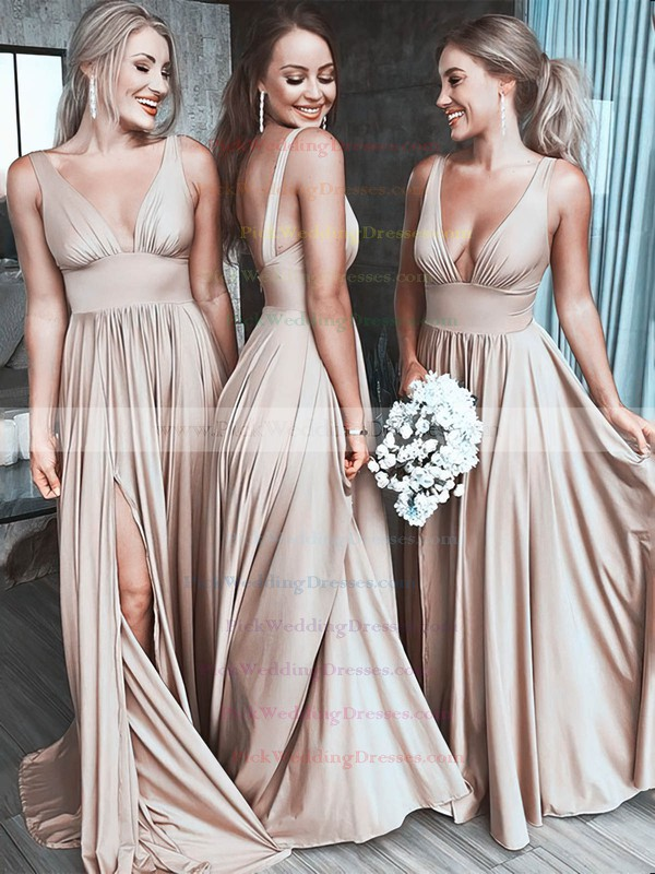Silk-like Satin V-neck Sweep Train A-line Split Front Bridesmaid Dresses #PWD01013597