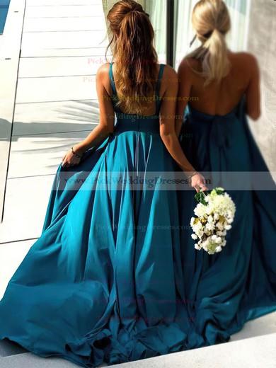 Silk-like Satin V-neck Sweep Train A-line Split Front Bridesmaid Dresses #PWD01013598