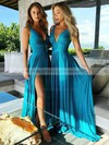 Silk-like Satin V-neck Sweep Train A-line Split Front Bridesmaid Dresses #PWD01013598