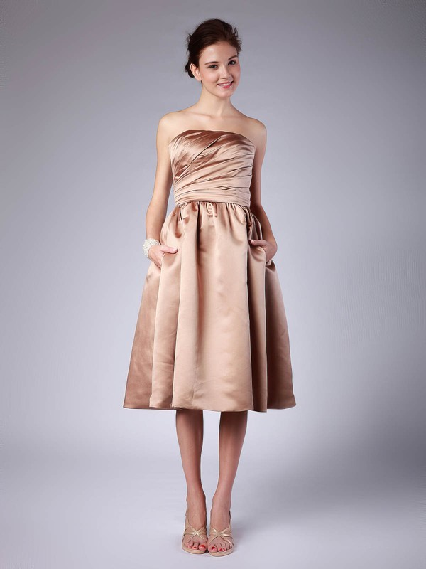 A-line Tea-length Satin Pleats Strapless Bridesmaid Dresses #PWD02013614