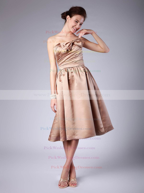 A-line Tea-length Satin Pleats Strapless Bridesmaid Dresses #PWD02013614
