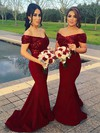 Sequined Silk-like Satin Off-the-shoulder Sweep Train Trumpet/Mermaid Bridesmaid Dresses #PWD01013599