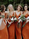 Chiffon V-neck Floor-length A-line Split Front Bridesmaid Dresses #PWD01013600