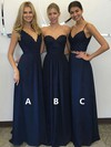 Chiffon V-neck Floor-length A-line Lace Bridesmaid Dresses #PWD01013601
