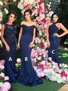 Silk-like Satin Halter Sweep Train Trumpet/Mermaid Appliques Lace Bridesmaid Dresses #PWD01013602