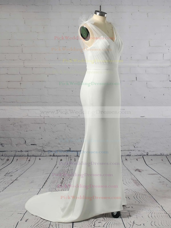 Tulle Stretch Crepe V-neck Sweep Train Trumpet/Mermaid Sashes / Ribbons Bridesmaid Dresses #PWD01013603