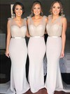 Tulle Silk-like Satin V-neck Sweep Train Trumpet/Mermaid Sashes / Ribbons Bridesmaid Dresses #PWD01013603