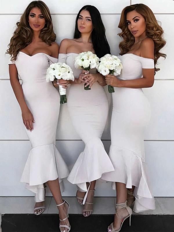 Silk-like Satin Off-the-shoulder Asymmetrical Trumpet/Mermaid Bridesmaid Dresses #PWD01013606