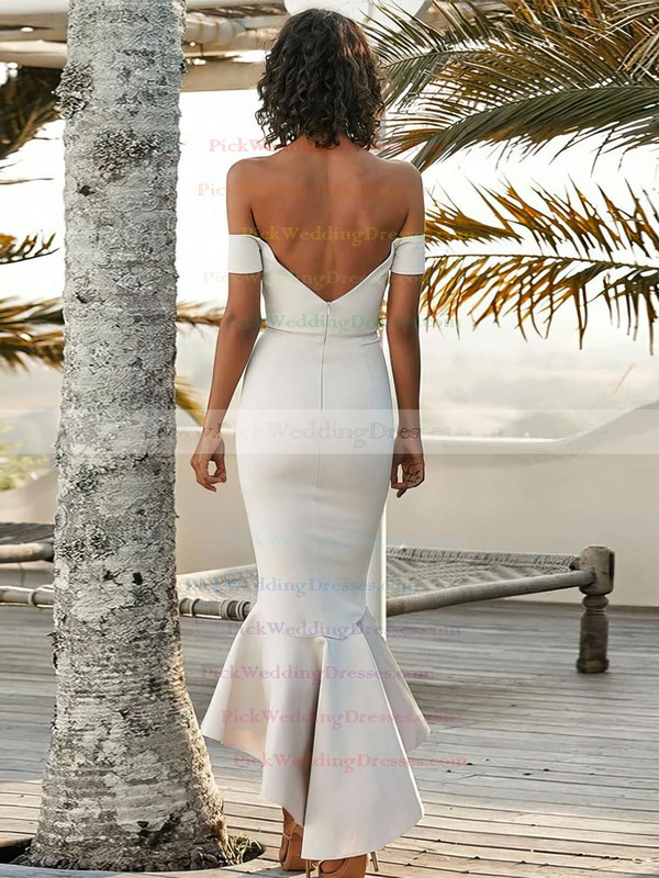 Silk-like Satin Off-the-shoulder Asymmetrical Trumpet/Mermaid Bridesmaid Dresses #PWD01013606
