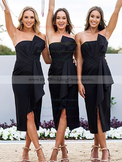 Silk-like Satin Strapless Tea-length Sheath/Column Ruffles Bridesmaid Dresses #PWD01013607