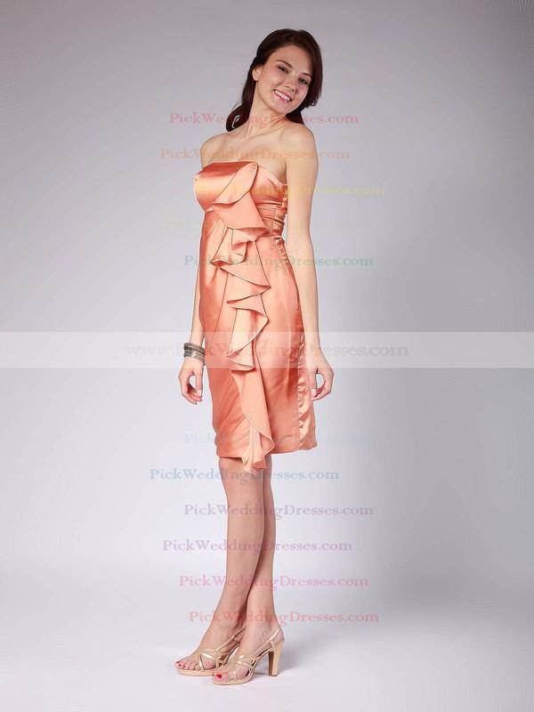 Sheath/Column Knee-length Satin Ruffles Strapless Bridesmaid Dresses #PWD02013616