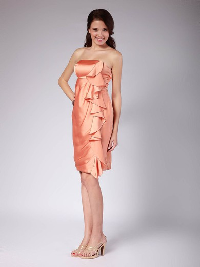 Sheath/Column Knee-length Satin Ruffles Strapless Bridesmaid Dresses #PWD02013616
