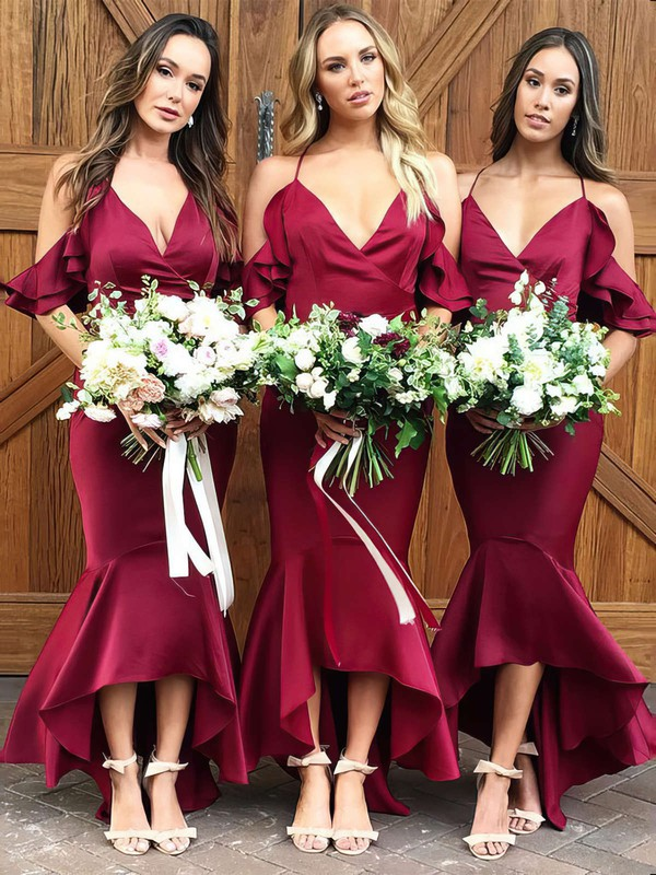 Silk-like Satin V-neck Asymmetrical Trumpet/Mermaid Ruffles Bridesmaid Dresses #PWD01013609