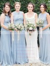 Satin Chiffon Scoop Neck Floor-length A-line Bridesmaid Dresses #PWD01013611
