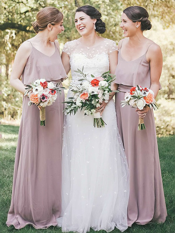 Chiffon Scoop Neck Floor-length A-line Ruffles Bridesmaid Dresses #PWD01013612