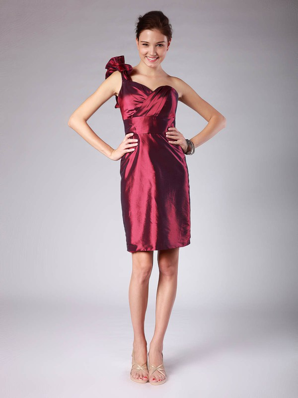 Sheath/Column Short/Mini Taffeta Pleats Strapless Bridesmaid Dresses #PWD02013620
