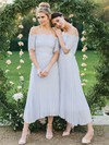 Lace Chiffon Off-the-shoulder Ankle-length A-line Sashes / Ribbons Bridesmaid Dresses #PWD01013619