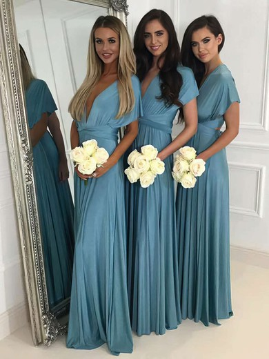 Jersey V-neck Floor-length A-line Bridesmaid Dresses #PWD01013620