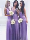 Jersey V-neck Floor-length A-line Bridesmaid Dresses #PWD01013620