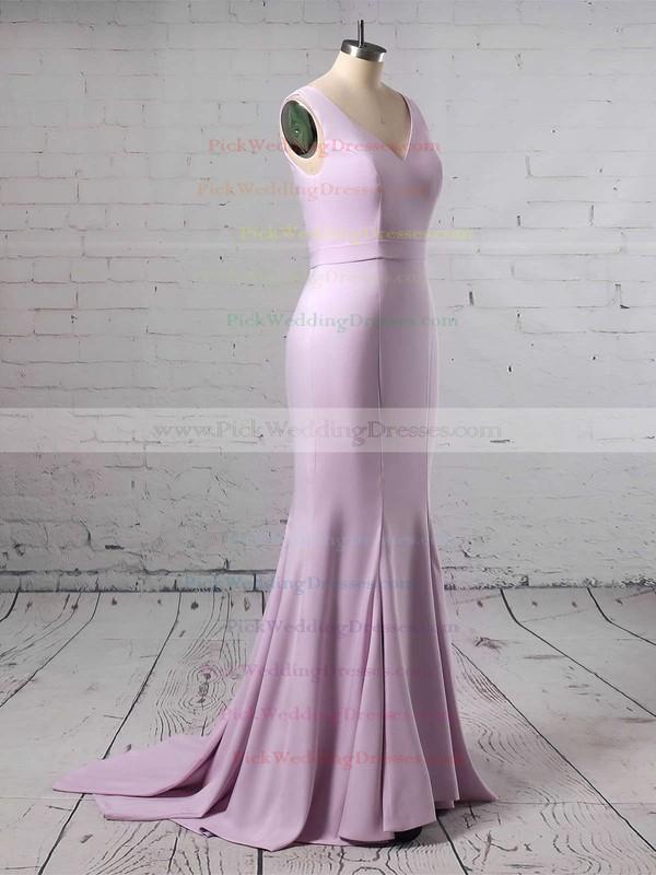 Silk-like Satin V-neck Sweep Train Trumpet/Mermaid Sashes / Ribbons Bridesmaid Dresses #PWD01013623