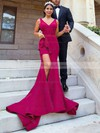 Satin V-neck Sweep Train Trumpet/Mermaid Split Front Bridesmaid Dresses #PWD01013624