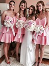 Silk-like Satin V-neck Short/Mini A-line Ruffles Bridesmaid Dresses #PWD01013625