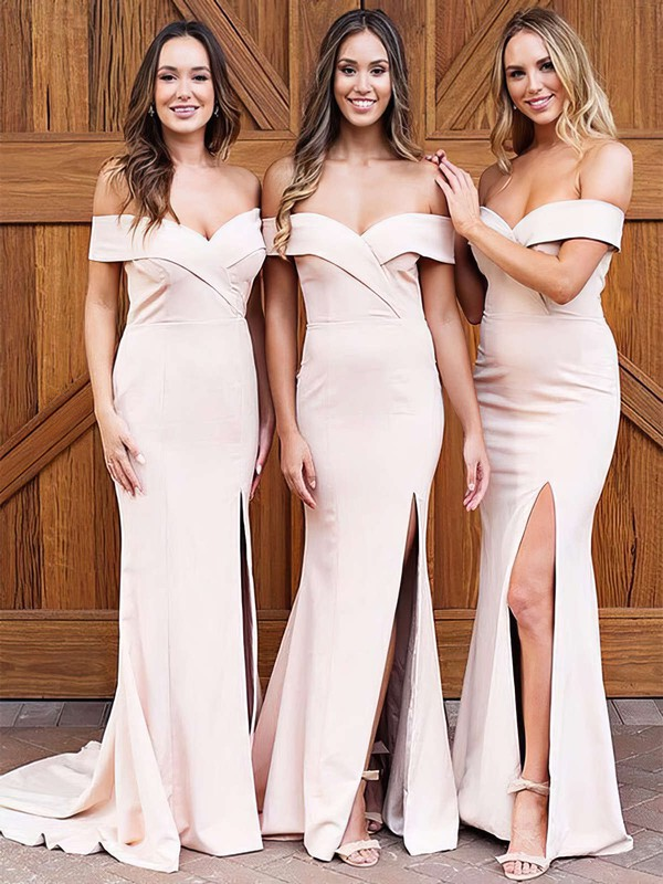 Satin Off-the-shoulder Sweep Train Sheath/Column Split Front Bridesmaid Dresses #PWD01013626