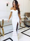 Satin Off-the-shoulder Sweep Train Sheath/Column Split Front Bridesmaid Dresses #PWD01013626