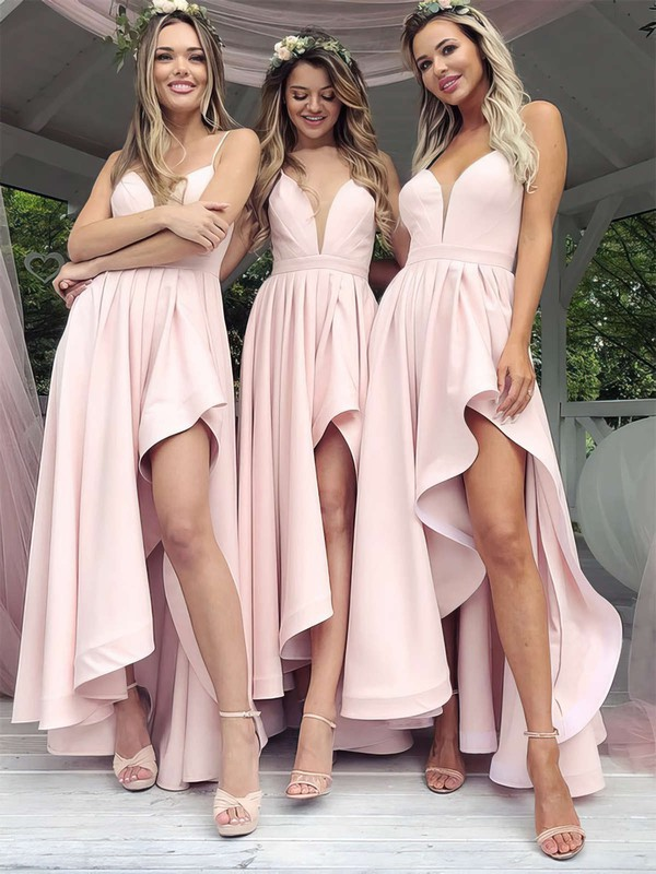 Satin V-neck Asymmetrical A-line Split Front Bridesmaid Dresses #PWD01013627