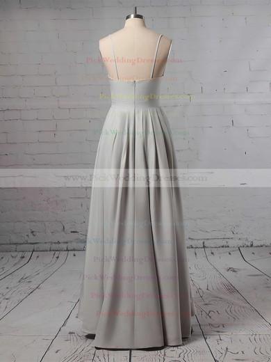 Satin V-neck Asymmetrical A-line Split Front Bridesmaid Dresses #PWD01013627