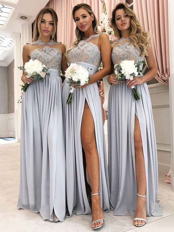Tulle Chiffon Scoop Neck Floor-length A-line Appliques Lace Bridesmaid Dresses #PWD01013628
