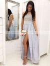Tulle Chiffon Scoop Neck Floor-length A-line Appliques Lace Bridesmaid Dresses #PWD01013628