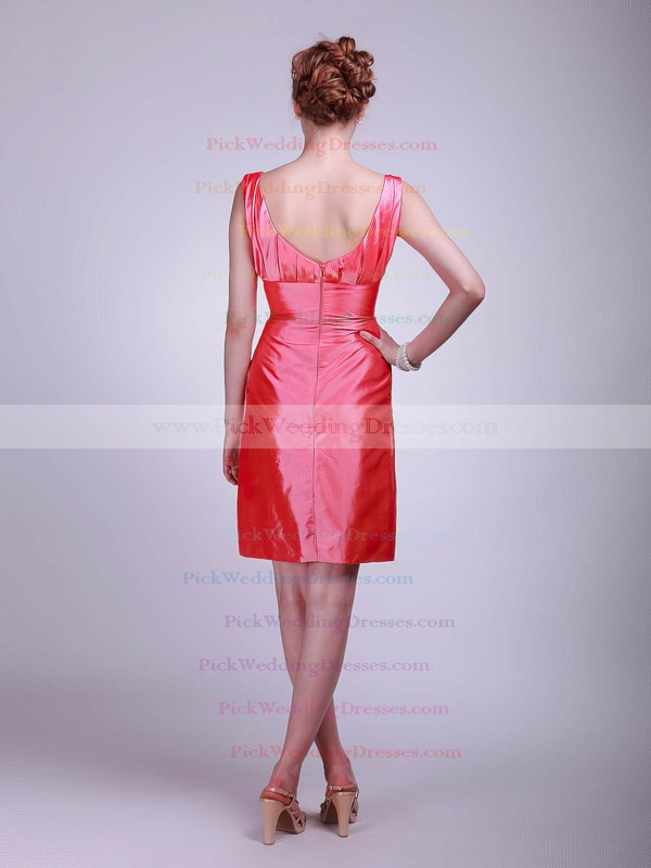 Sheath/Column Short/Mini Taffeta Flower(s) Square Bridesmaid Dresses #PWD02013623