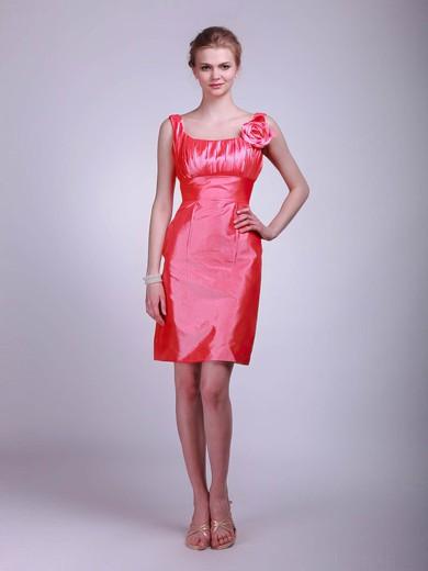 Sheath/Column Short/Mini Taffeta Flower(s) Square Bridesmaid Dresses #PWD02013623