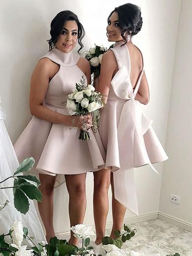 Satin High Neck Short/Mini Princess Bow Bridesmaid Dresses #PWD01013631