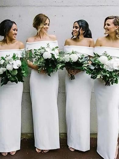 Silk-like Satin Off-the-shoulder Ankle-length Sheath/Column Bridesmaid Dresses #PWD01013632
