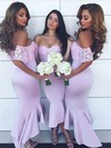 Silk-like Satin Off-the-shoulder Asymmetrical Trumpet/Mermaid Lace Bridesmaid Dresses #PWD01013633